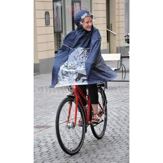 Rain poncho for bike, blue