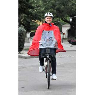 Rain poncho for bike, red